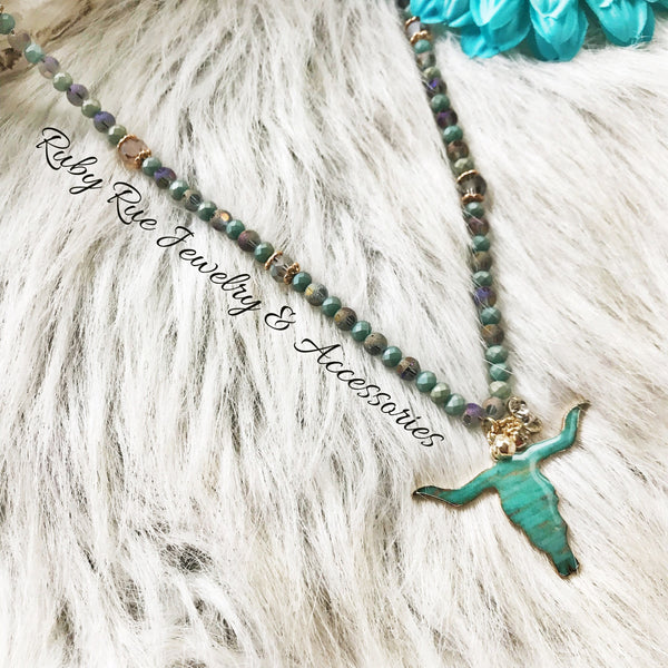 Turquoise Beaded Bullhead Necklace - Ruby Rue Jewelry & Accessories