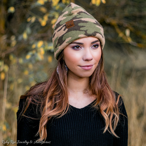 Camo CC Beanie - Ruby Rue Jewelry & Accessories