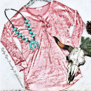 Blush Velvet Long Sleeve - Ruby Rue Jewelry & Accessories