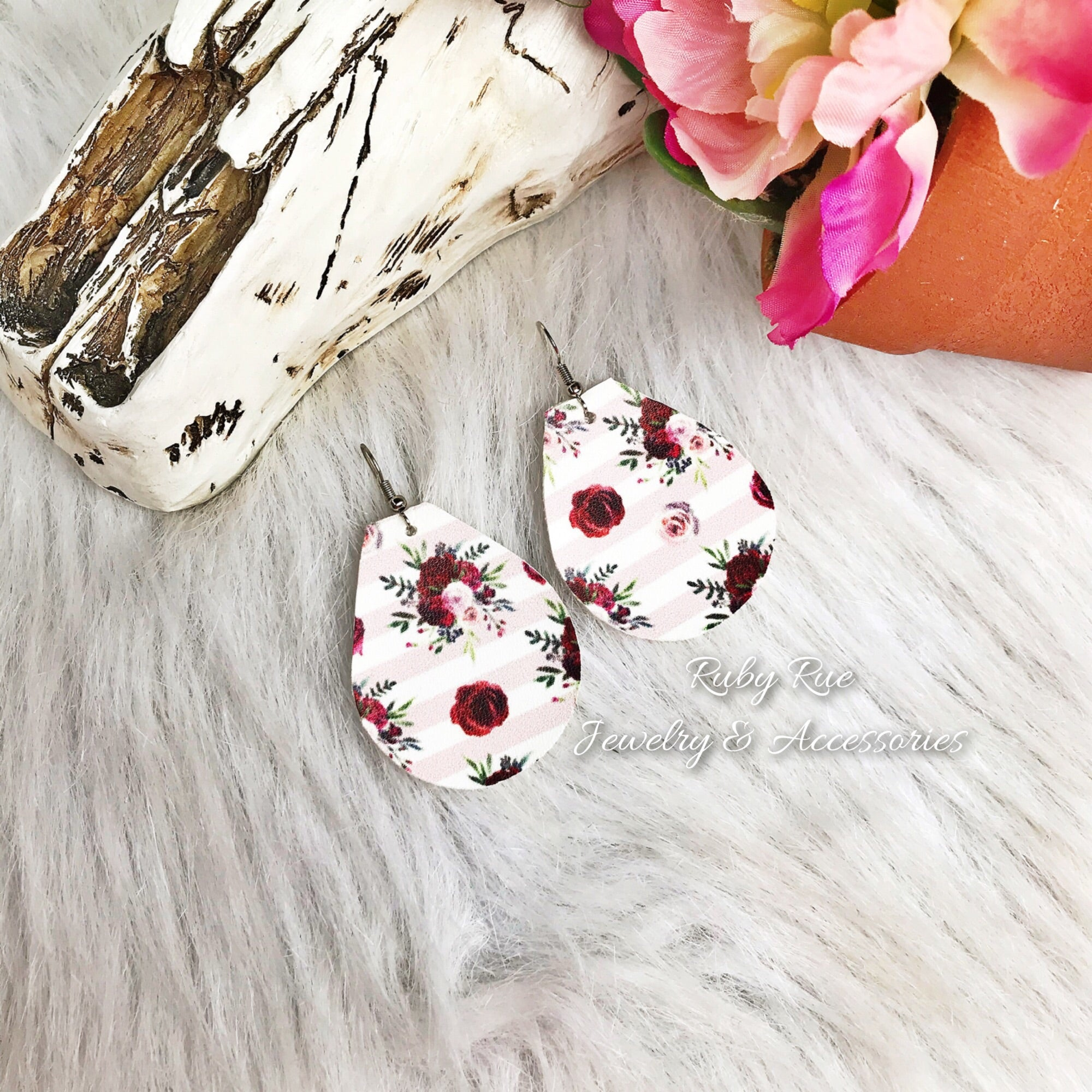 Plum & Pink Floral Leather Earrings - Ruby Rue Jewelry & Accessories