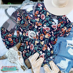 Navy Floral Top - Ruby Rue Jewelry & Accessories