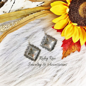Silver Concho Earrings - Ruby Rue Jewelry & Accessories