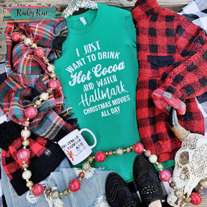 Hot Cocoa & Hallmark Christmas Movies Tee - Ruby Rue Jewelry & Accessories