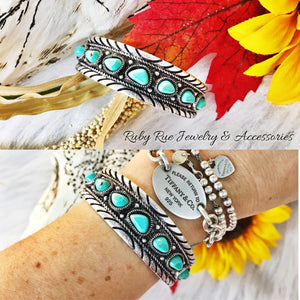 Everly Turquoise Cuff - Ruby Rue Jewelry & Accessories