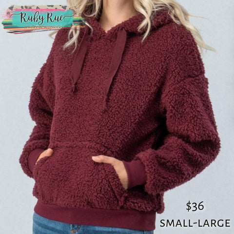 Wine Sherpa Hoodie - Ruby Rue Jewelry & Accessories
