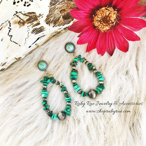 Natural Turquoise & Navajo Beaded Earrings - Ruby Rue Jewelry & Accessories