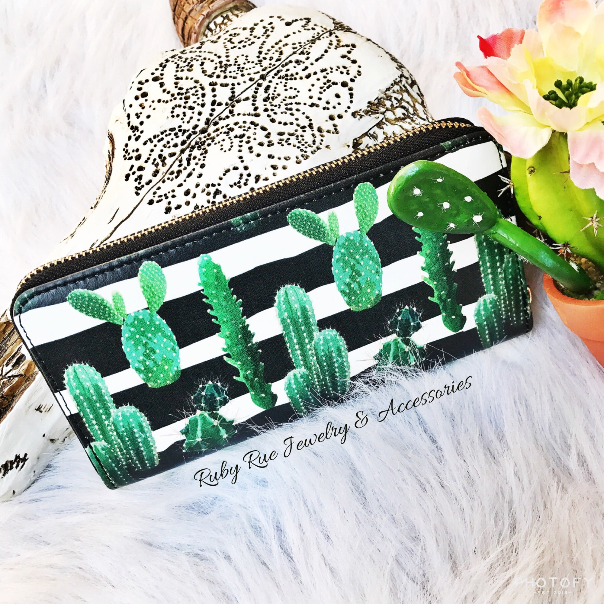 Black Striped Cactus Wallet - Ruby Rue Jewelry & Accessories
