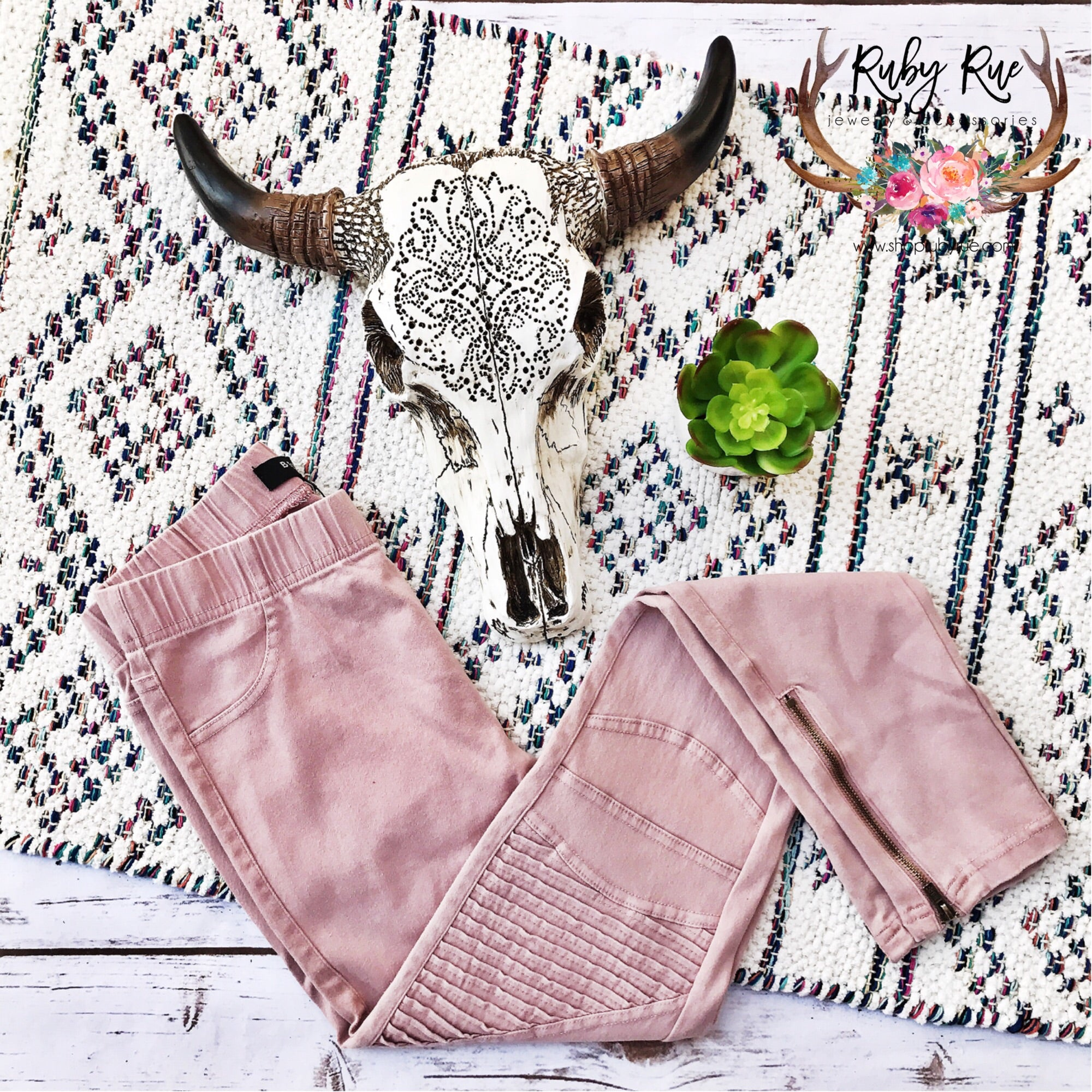 Umgee Blush Moto Jeggings - Ruby Rue Jewelry & Accessories