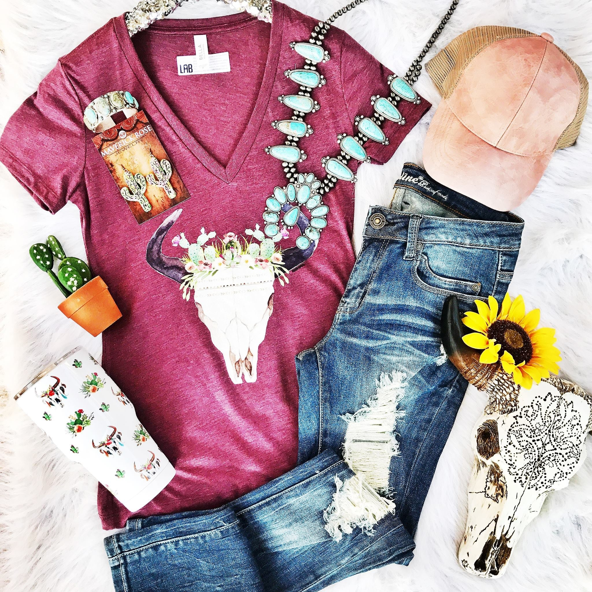 Maroon Bullhead Tee - Ruby Rue Jewelry & Accessories