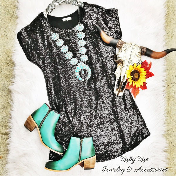 Black Sequin Dress - Ruby Rue Jewelry & Accessories
