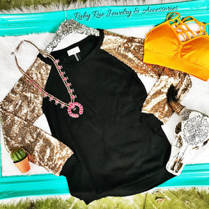 Black & Gold Sequin Long Sleeve - Ruby Rue Jewelry & Accessories