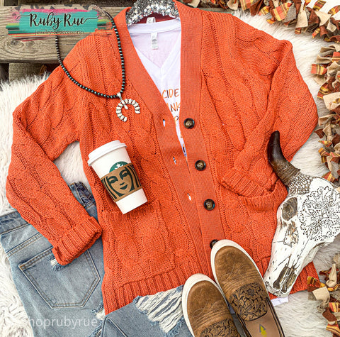 Pumpkin Spice Sweater Cardigan