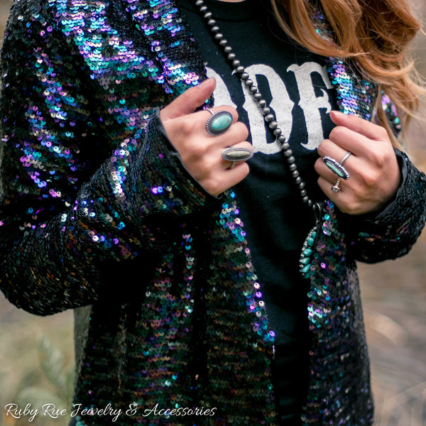 Dark Iridescent Sequin Blazer
