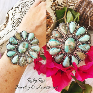 Large Turquoise Flower Pendant Bracelet - Ruby Rue Jewelry & Accessories