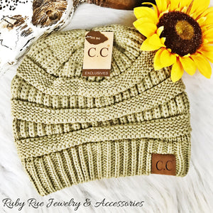 Light Sage CC Beanie - Ruby Rue Jewelry & Accessories