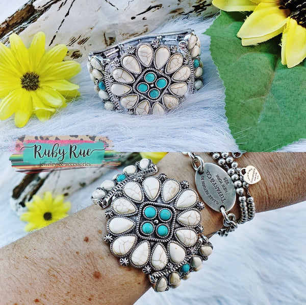 Floral Ivory Gemstone Bracelet - Ruby Rue Jewelry & Accessories