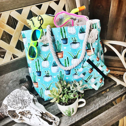 Summer Cactus Tote - Ruby Rue Jewelry & Accessories