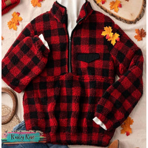 Buffalo Plaid Sherpa Pullover - Ruby Rue Jewelry & Accessories