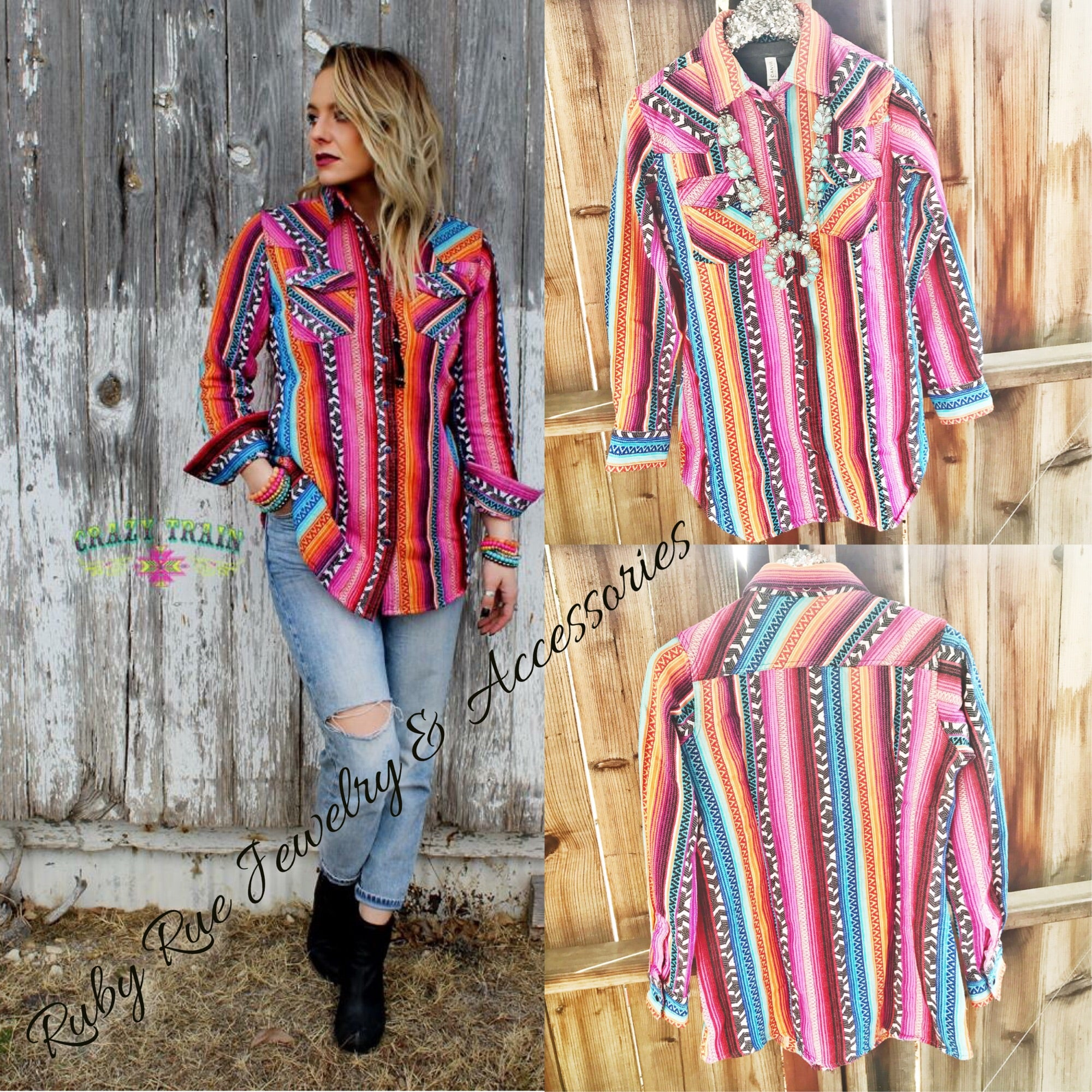 Crazy Train Brand Full Serape Tunic - Ruby Rue Jewelry & Accessories