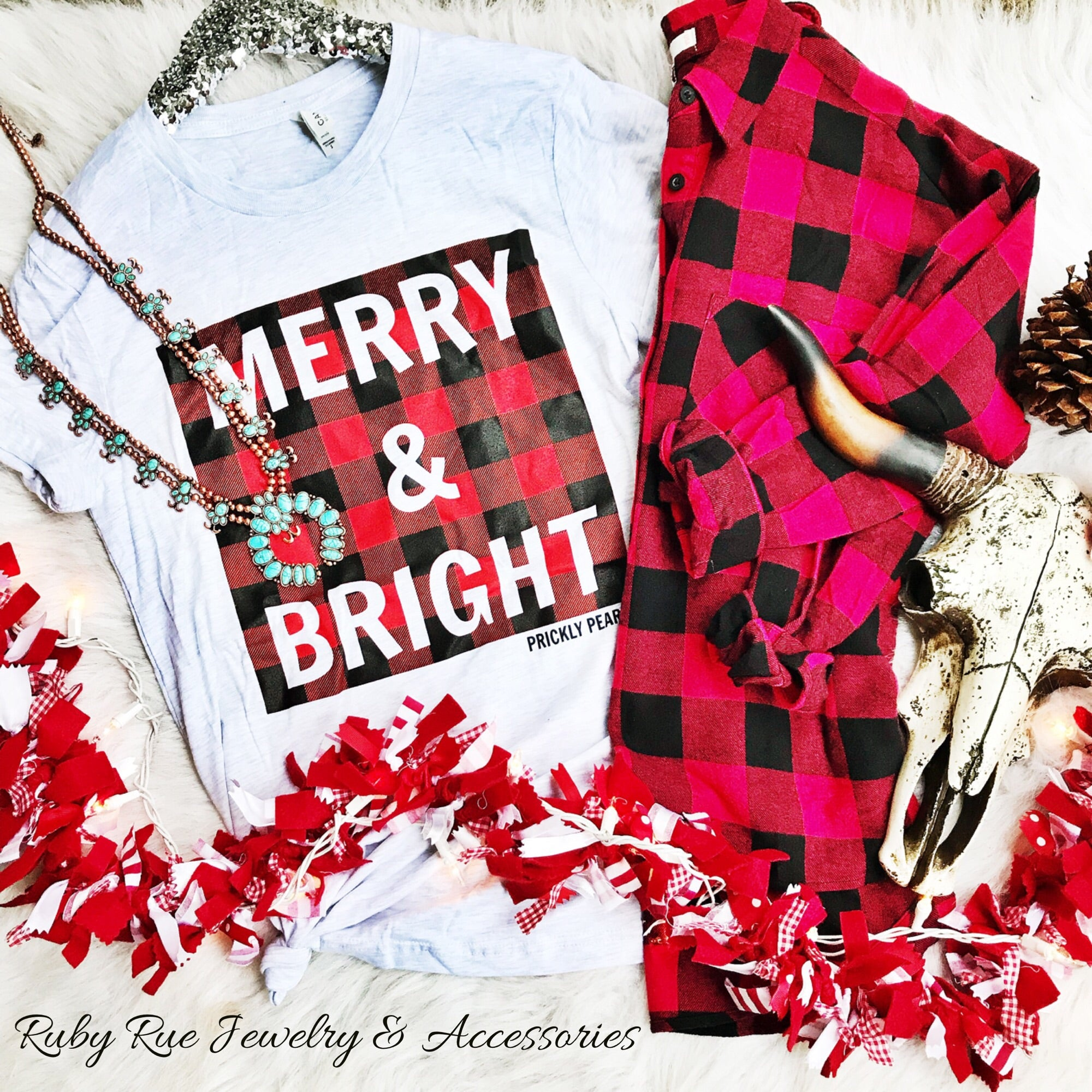 Merry & Bright Tee - Ruby Rue Jewelry & Accessories