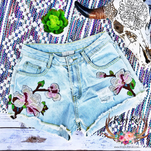 Embroidered Jean Shorts - Ruby Rue Jewelry & Accessories
