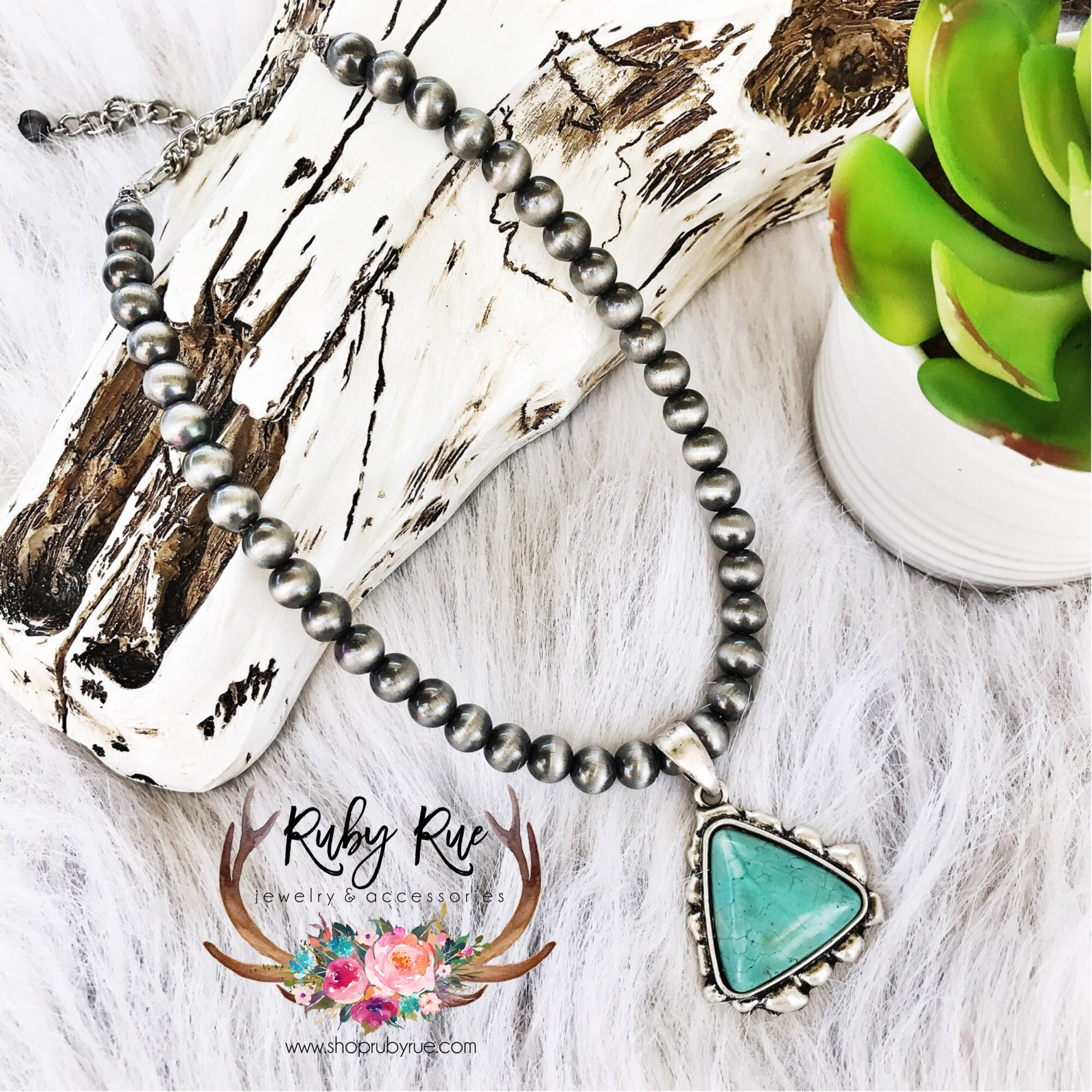 Triangle Turquoise Necklace - Ruby Rue Jewelry & Accessories