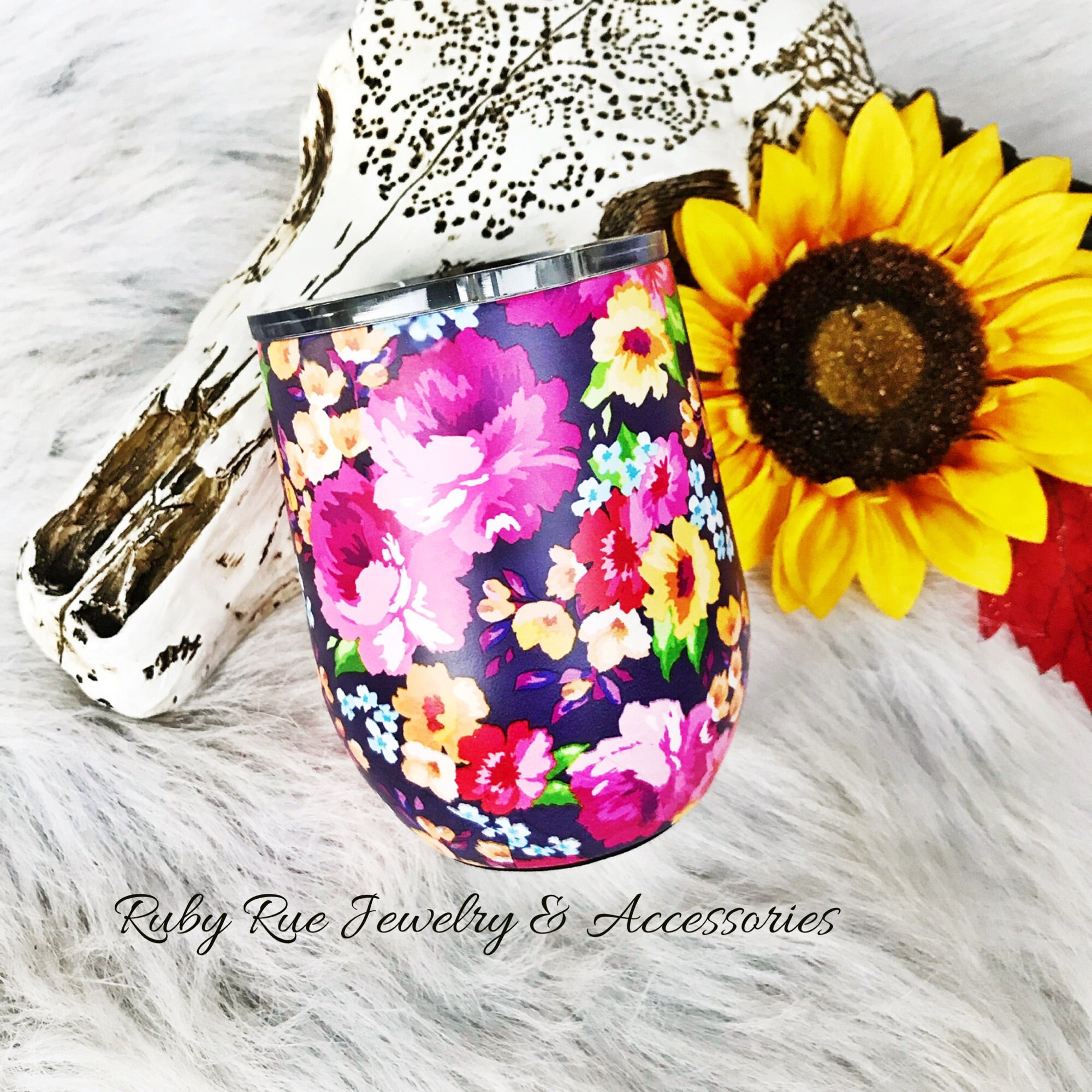Floral Tumbler - Ruby Rue Jewelry & Accessories