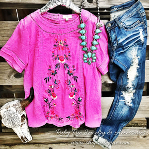 Pink Embroidered Top - Ruby Rue Jewelry & Accessories