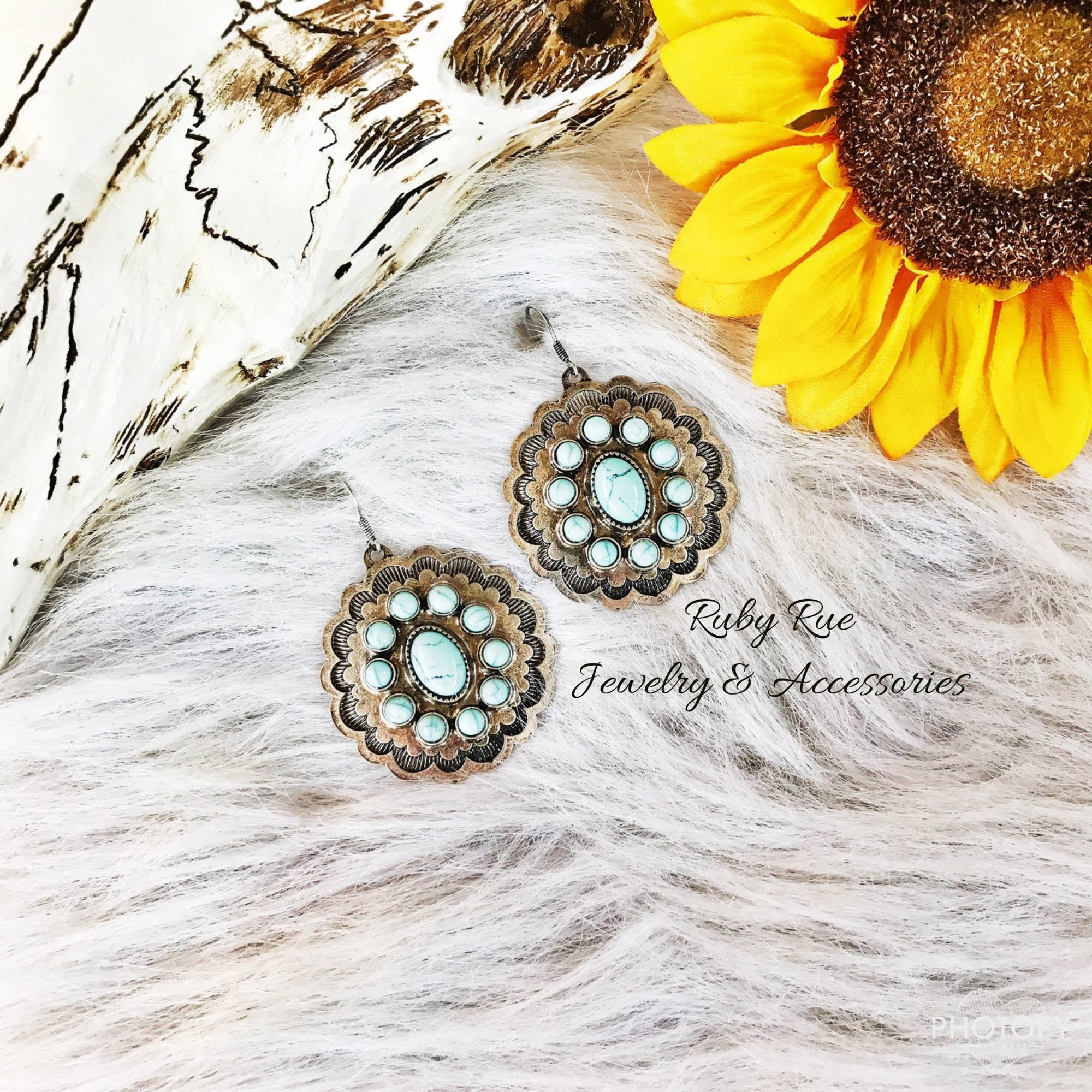 Light Turquoise & Ivory Concho Earrings - Ruby Rue Jewelry & Accessories