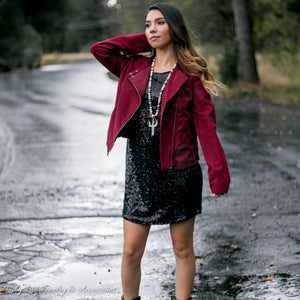 Wine Faux Suede Jacket - Ruby Rue Jewelry & Accessories