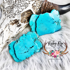 Large Turquoise Slab Belt Buckle - Ruby Rue Jewelry & Accessories