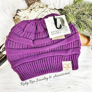 Purple CC Messy Bun Beanie - Ruby Rue Jewelry & Accessories