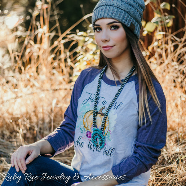 Just A Girl Who Loves Fall Raglan - Ruby Rue Jewelry & Accessories