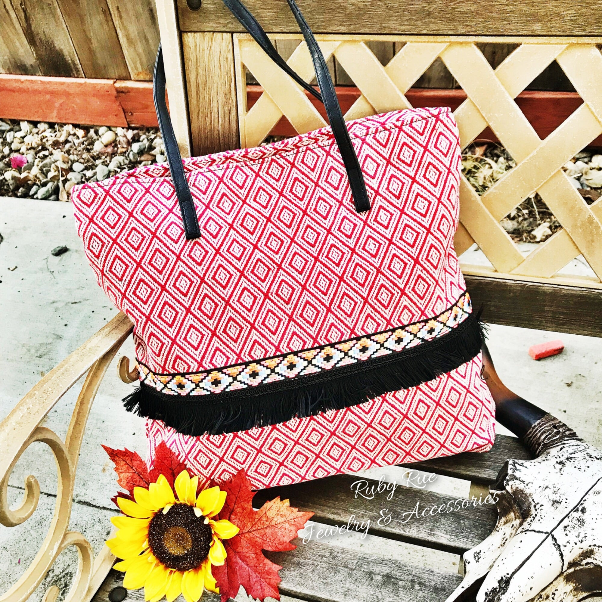 Red Aztec Tote - Ruby Rue Jewelry & Accessories