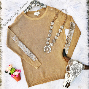 Tan Sweater with Gold Sequins - Ruby Rue Jewelry & Accessories