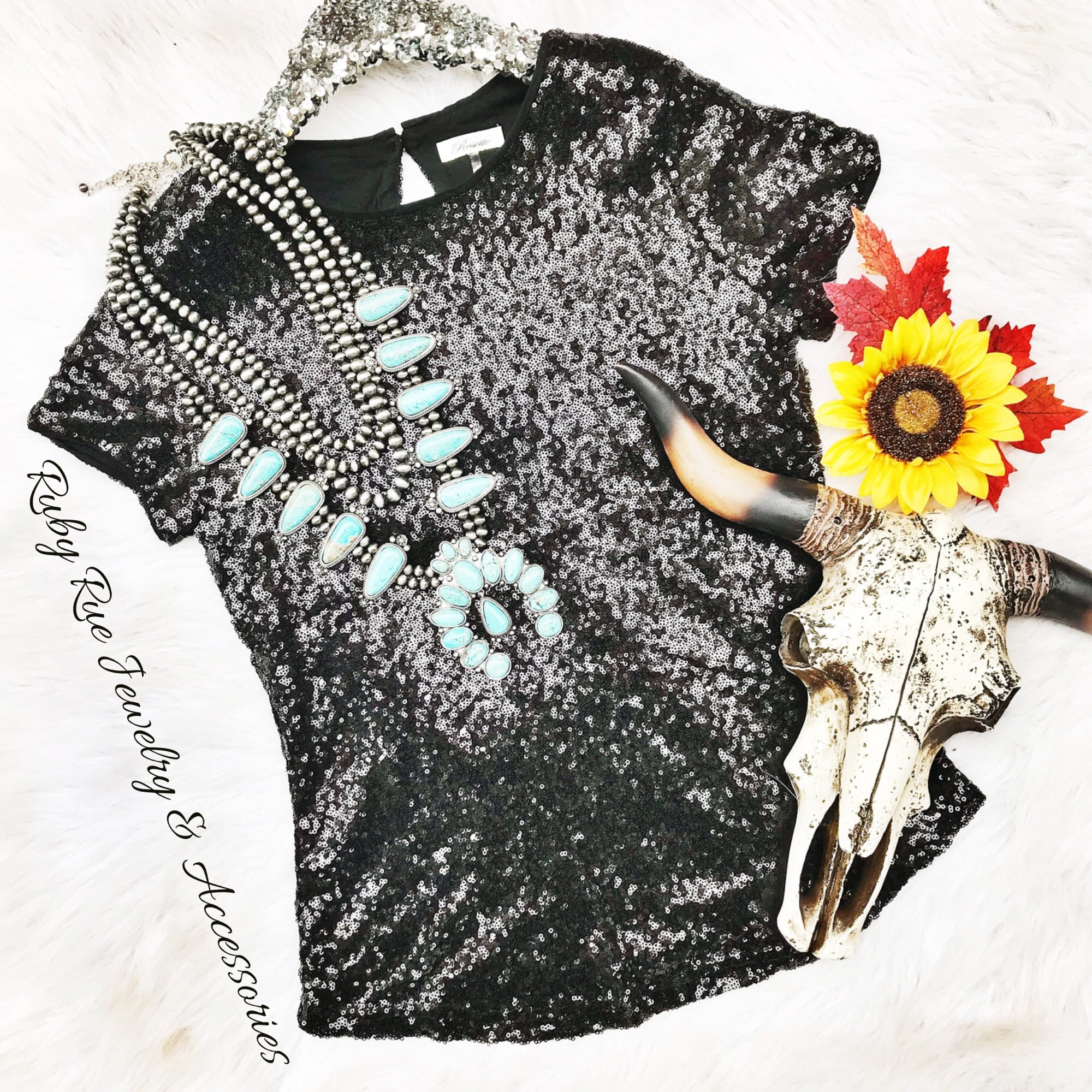 Glitzy Black Sequin Tee - Ruby Rue Jewelry & Accessories