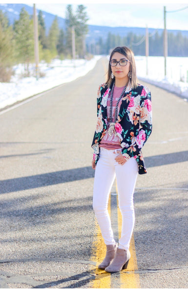 Spring Floral Blazer - Ruby Rue Jewelry & Accessories