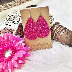 Bright Pink Glitter Earrings - Ruby Rue Jewelry & Accessories