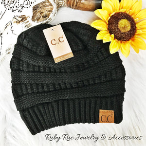 Black CC Beanie - Ruby Rue Jewelry & Accessories