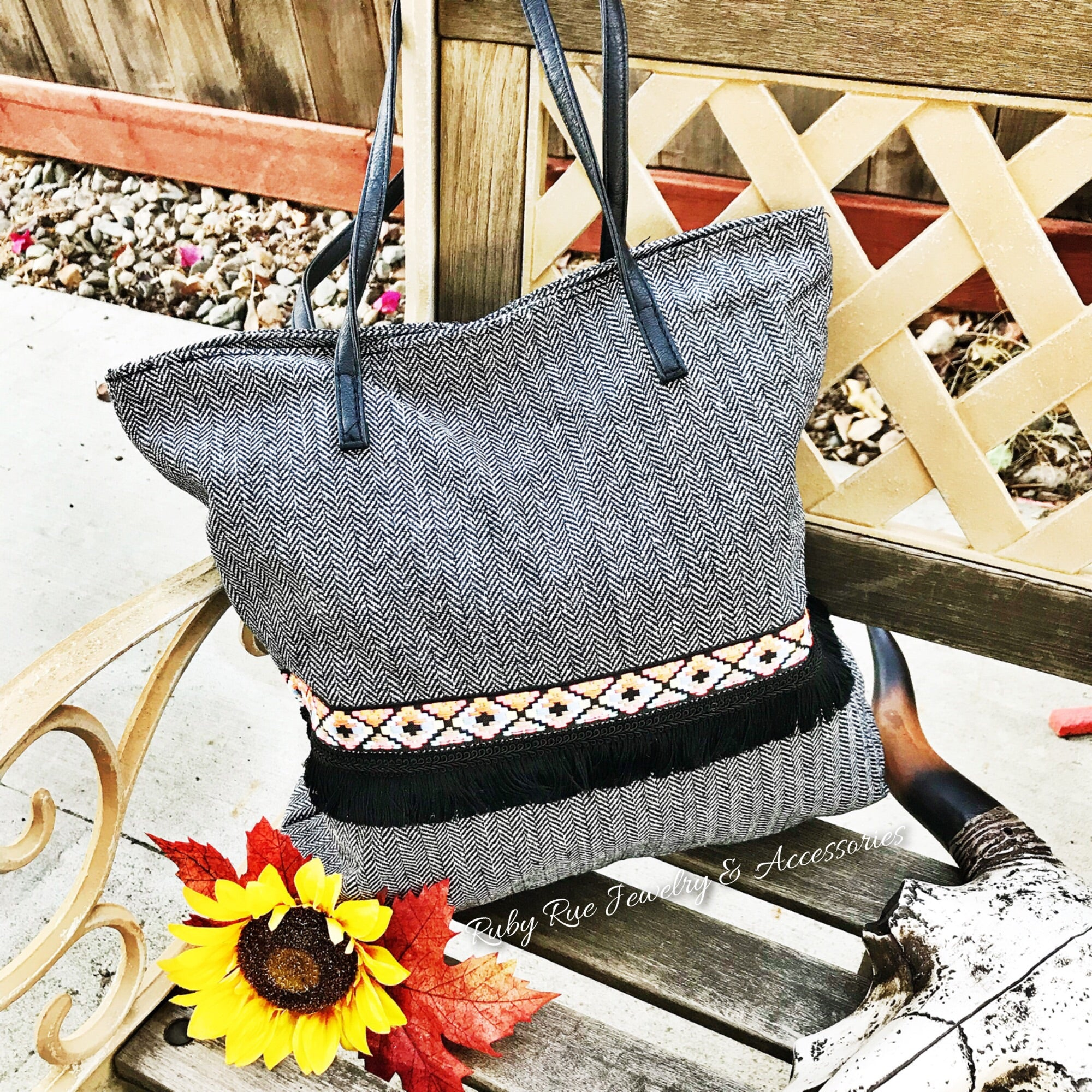 Black Aztec Tote - Ruby Rue Jewelry & Accessories