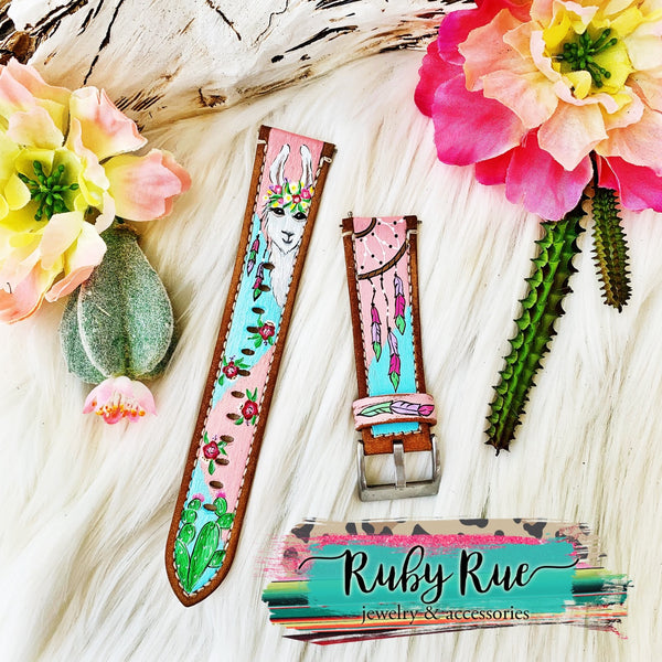 Custom Hand Painted Apple/Fitbit Leather Bands - Ruby Rue Jewelry & Accessories