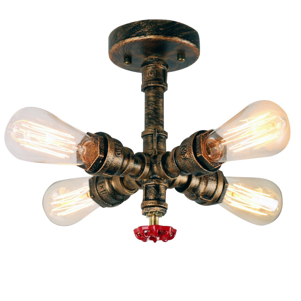 Rustic Copper Pipe Semi Flush Mount Light with 4 Lights - unitarylighting