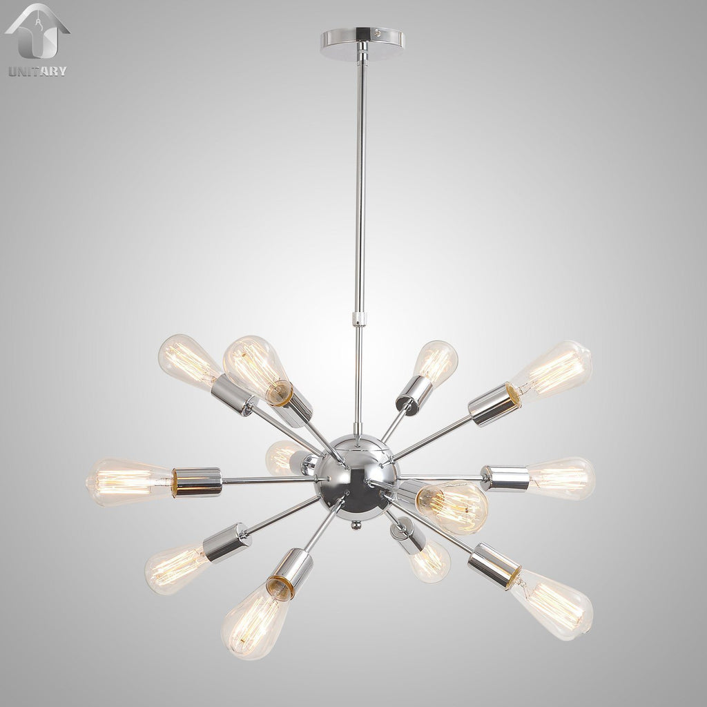 Unitary Brand Silvery Vintage Metal Hanging Ceiling Chandelier With 12 Lights Chrome Finish - unitarylighting