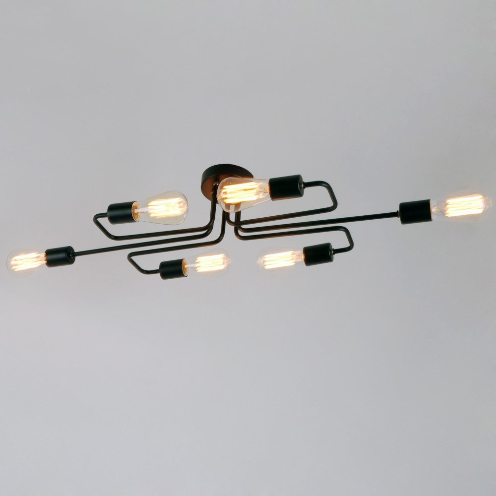 Black Vintage Barn Metal Semi Flush Mount Ceiling Lighting with 6 lights - unitarylighting