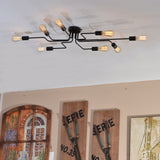 Black Metal Steel Art Flush Mount Ceiling light with 8 Lights - unitarylighting