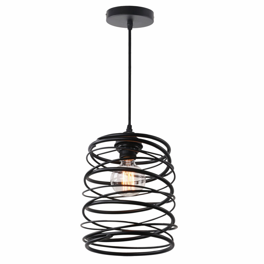 Unitary Brand Antique Black Metal Spiral Shade Pendant light with 1 light Painted Finish - unitarylighting