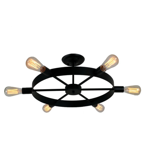 Antique Black Metal Wheel Semi Flush Mount Ceiling Light with 6 Lights