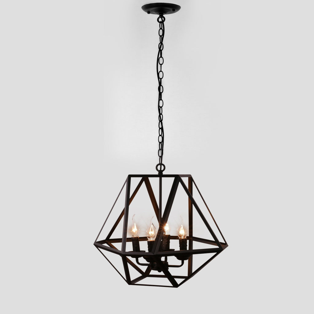 Antique Black Metal Hanging Lantern Candle Chandelier Light with 4 Lights - unitarylighting
