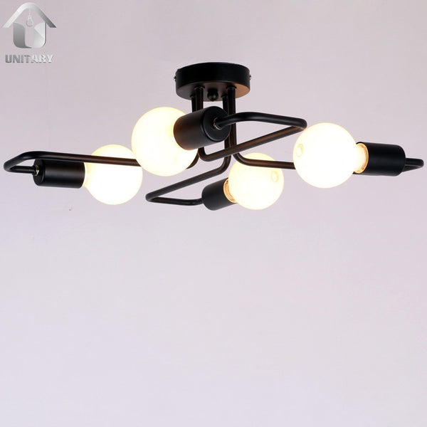 Black Vintage Barn Metal Semi Flush Mount Ceiling Lighting With 4 Ligh Unitarylighting