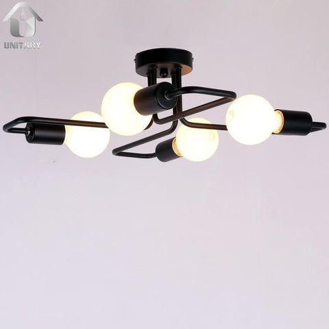 Black Vintage Barn Metal Semi Flush Mount Ceiling Lighting With 4 Lights - unitarylighting